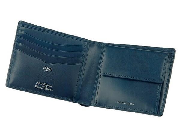 二つ折り財布(小銭入れ付き札入)■オイルシェルコードバン&シラサギレザー