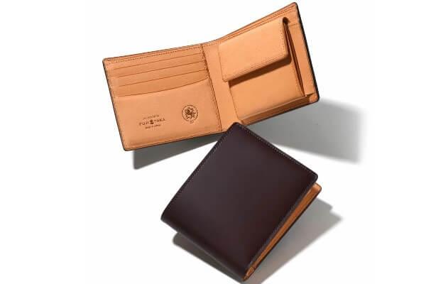 コードバン 二つ折り財布(ガーネット)