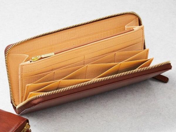 ラウンドファスナーハニーセル長財布|シラサギレザー